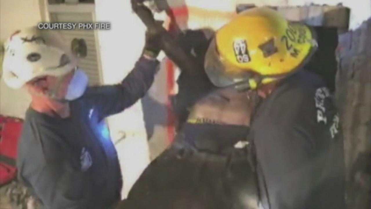 Man rescued from chimney