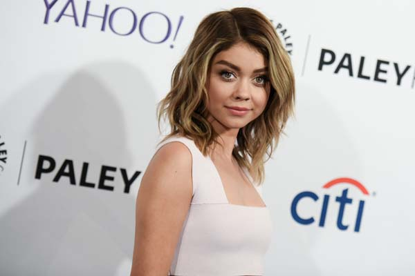 <div class='meta'><div class='origin-logo' data-origin='AP'></div><span class='caption-text' data-credit='Richard Shotwell/Invision/AP'>Sarah Hyland arrives at the 32nd Annual Paleyfest : &#34;Modern Family&#34; held at The Dolby Theatre on Saturday, March 14, 2015, in Los Angeles. (Photo by Richard Shotwell/Invision/AP)</span></div>