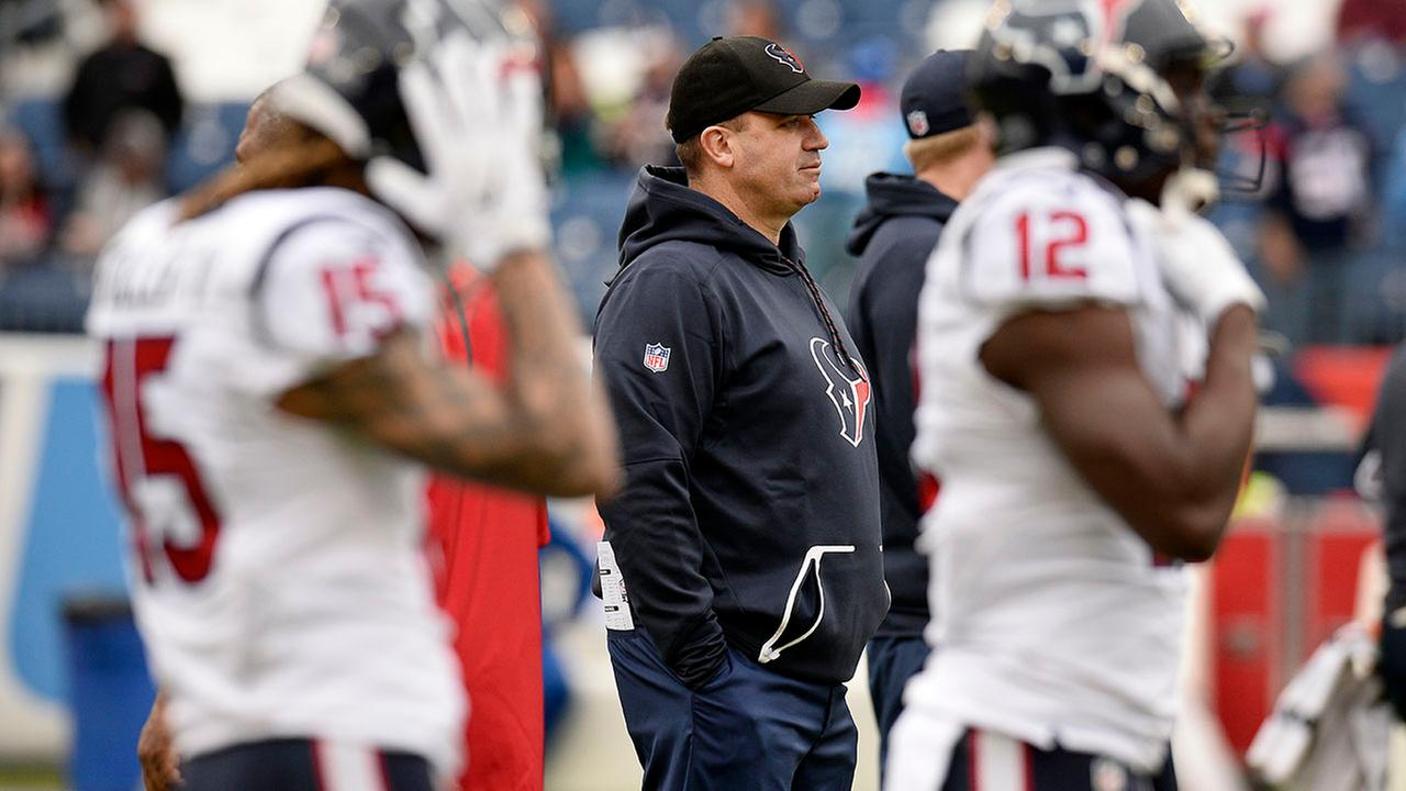 Houston Texans head coach Bill OBrien watches players warm up before an NFL football game against the Tennessee Titans Sunday, Jan. 1, 2017, in Nashville, Tenn.AP