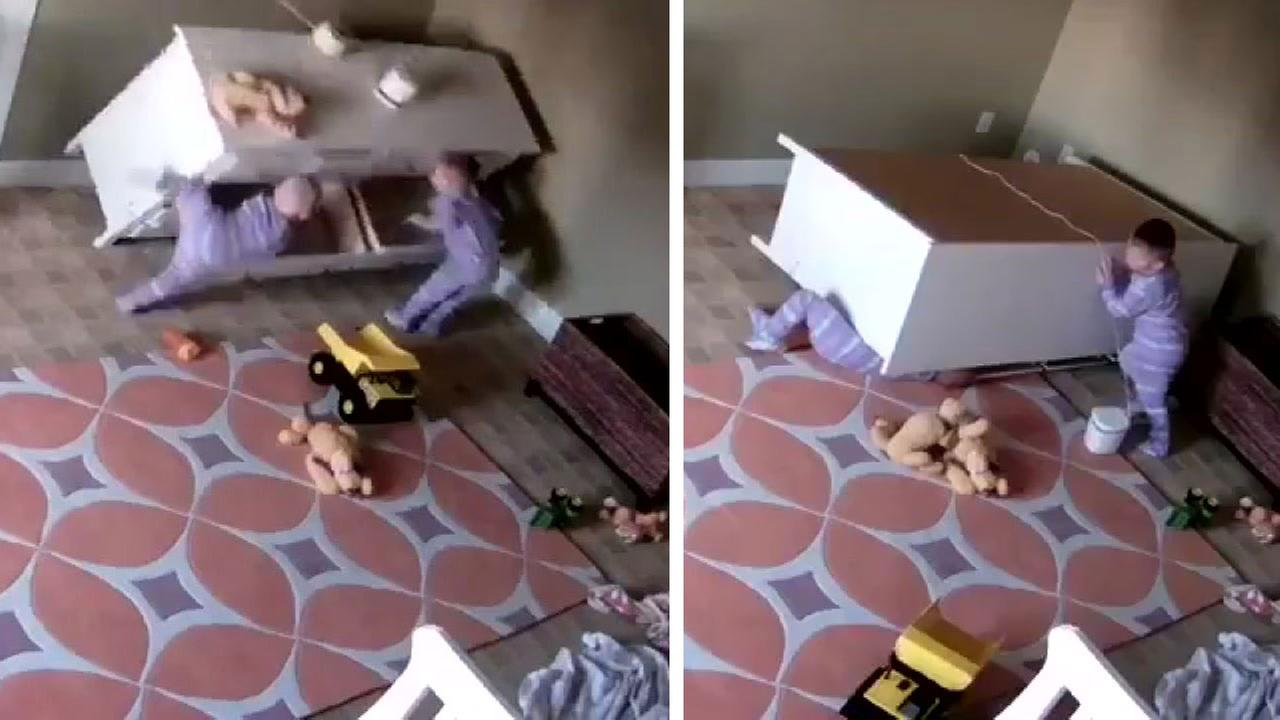 Dresser falls on top of child
