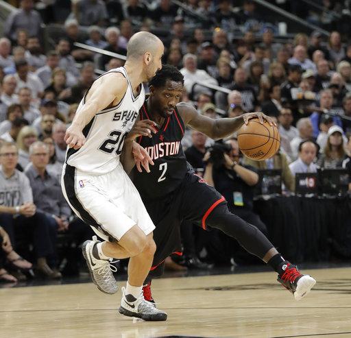 "<div class=""meta image-caption""><div class=""origin-logo origin-image ap""><span>AP</span></div><span class=""caption-text"">Houston Rockets guard Patrick Beverley (2) drives around San Antonio Spurs guard Manu Ginobili (20), Monday, May 1, 2017, in San Antonio. (AP Photo/Eric Gay) (AP)</span></div>"