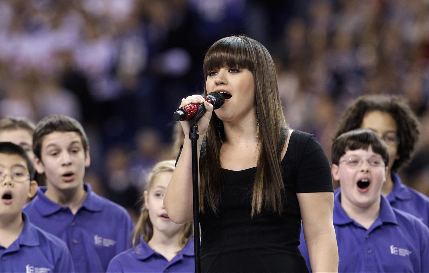 <div class='meta'><div class='origin-logo' data-origin='AP'></div><span class='caption-text' data-credit='AP Photo/David J. Phillip'>2012: Kelly Clarkson sings the national anthem before the NFL Super Bowl XLVI football game between the New York Giants and the New England Patriots on Feb. 5, 2012.</span></div>