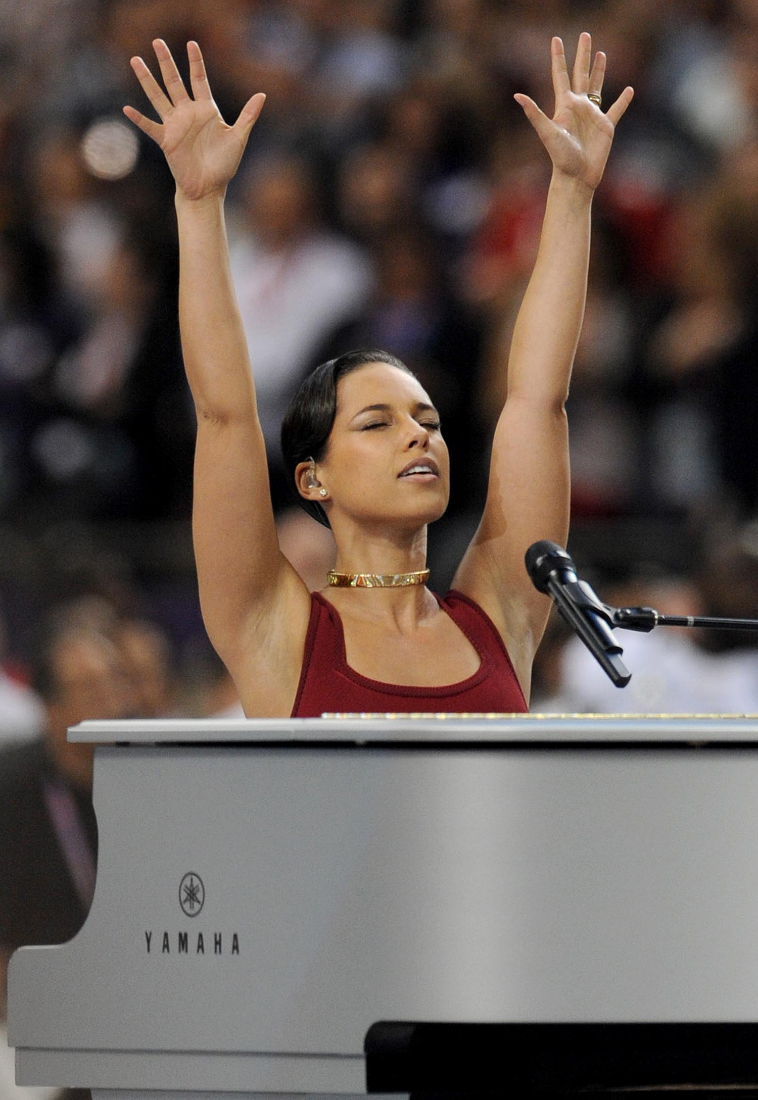 <div class='meta'><div class='origin-logo' data-origin='AP'></div><span class='caption-text' data-credit='Jordan Strauss/Invision/AP'>2013: Recording artist Alicia Keys performs the National Anthem at Super Bowl XLVII on Sunday, Feb. 3, 2013 in New Orleans.</span></div>