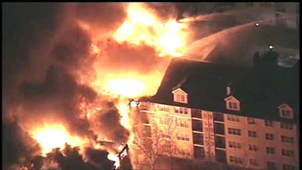 <div class='meta'><div class='origin-logo' data-origin='none'></div><span class='caption-text' data-credit='WABC Photo/ WABC'>A huge fire destroyed several apartments in a large complex in Edgewater, New Jersey Wednesday evening.</span></div>