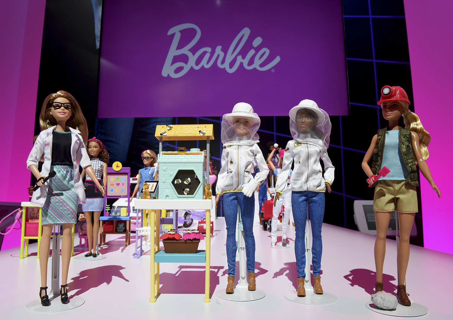 <div class='meta'><div class='origin-logo' data-origin='AP'></div><span class='caption-text' data-credit='Diane Bondareff /AP Images for Mattel'>The new line up of 2018 Barbie Career dolls includes eye doctor, beekeeper and paleontologist, joining the more than 200+ careers Barbie has had since 1959.</span></div>