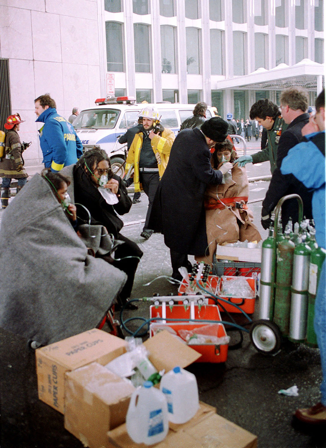 <div class='meta'><div class='origin-logo' data-origin='AP'></div><span class='caption-text' data-credit='AP Photo/Ron Frehm'>Survivors of the explosion which rocked New York's World Trade Center Feb. 26, 1993 are aided by rescue personnel on the street.</span></div>