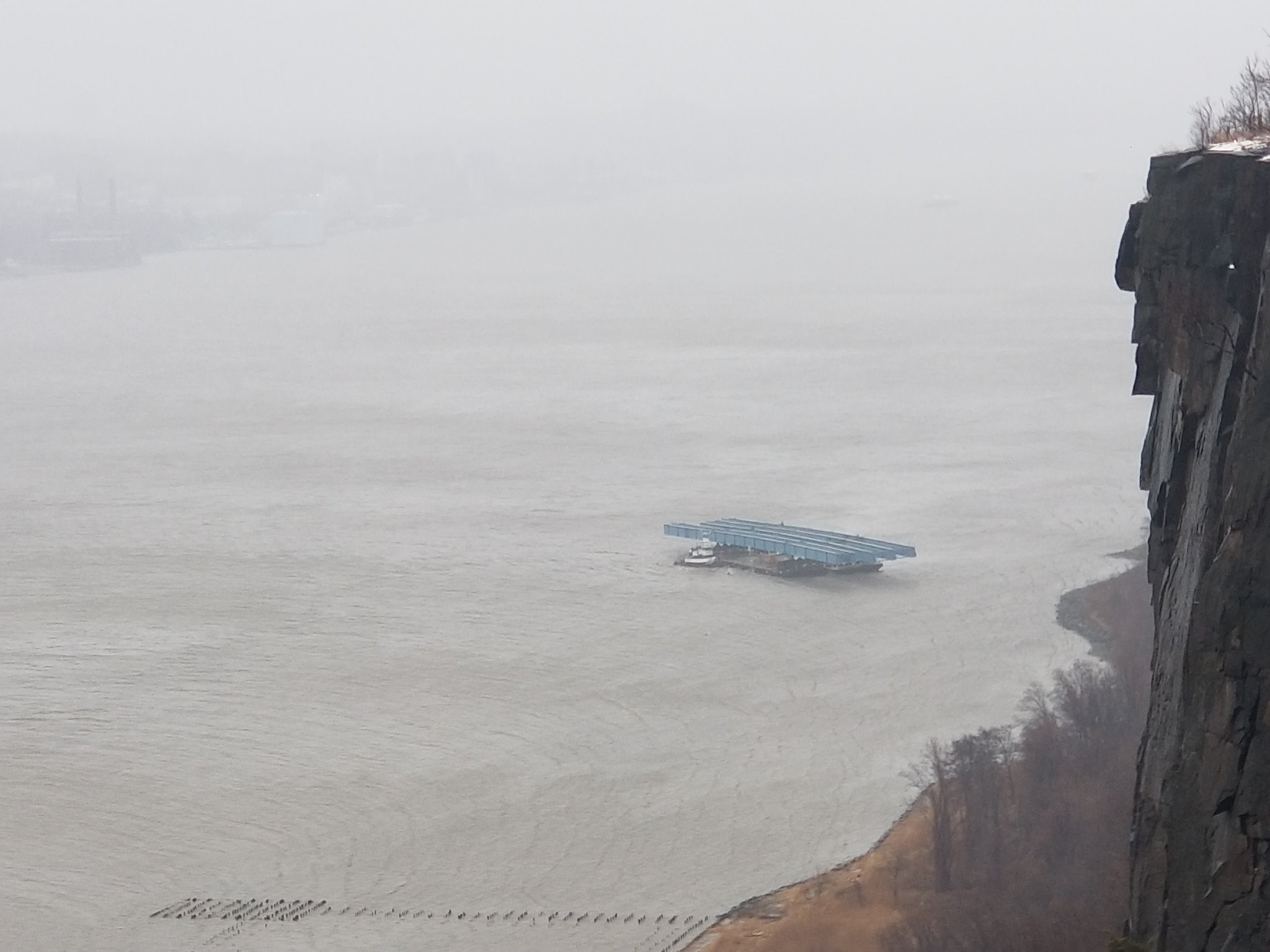 <div class='meta'><div class='origin-logo' data-origin='none'></div><span class='caption-text' data-credit='@ParkwayPolice'>Several barges broke off of the Mario Cuomo/ Tappan Zee Bridge</span></div>