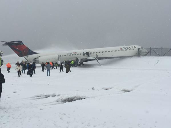 <div class='meta'><div class='origin-logo' data-origin='none'></div><span class='caption-text' data-credit=''>Viewer photo of a Delta plane that skidded off a runway at LaGuardia Airport (Photo by @SteveBlaze98 via Twitter)</span></div>