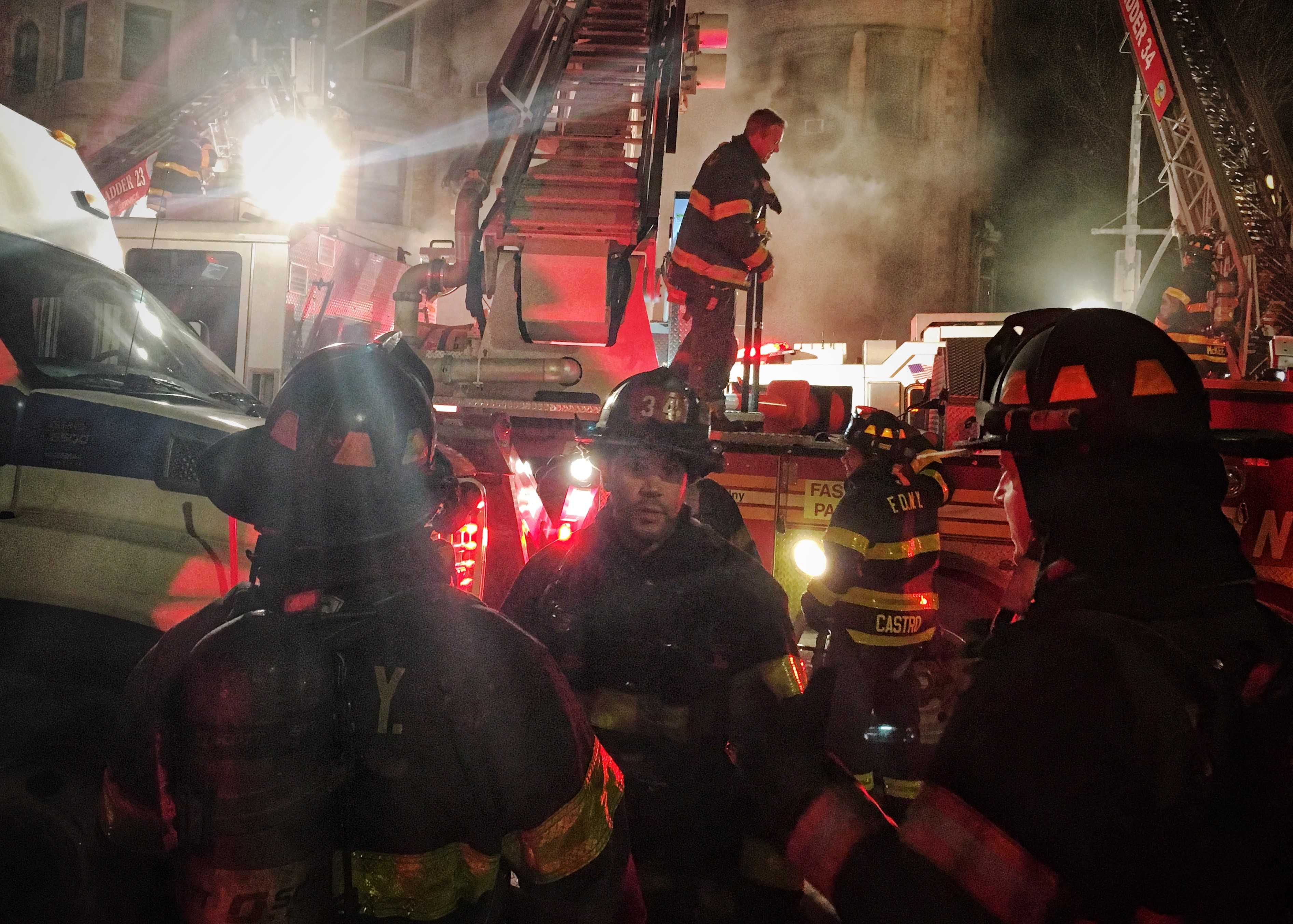 <div class='meta'><div class='origin-logo' data-origin='WABC'></div><span class='caption-text' data-credit=''>Photos from the scene of the fire in a building in Harlem where FDNY firefighter Michael Davidson was killed on Thursday, March 22, 2018.   Photos courtesy Sion Fullana</span></div>
