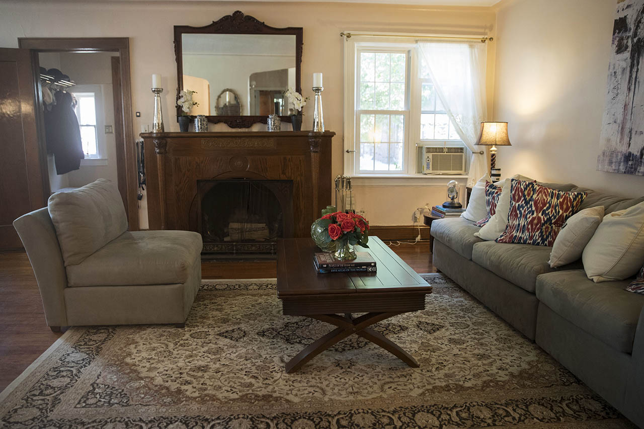 <div class='meta'><div class='origin-logo' data-origin='AP'></div><span class='caption-text' data-credit='AP Photo/Mary Altaffer'>This 2016 photo  shows the living room of the home where Donald Trump spent his early childhood.</span></div>