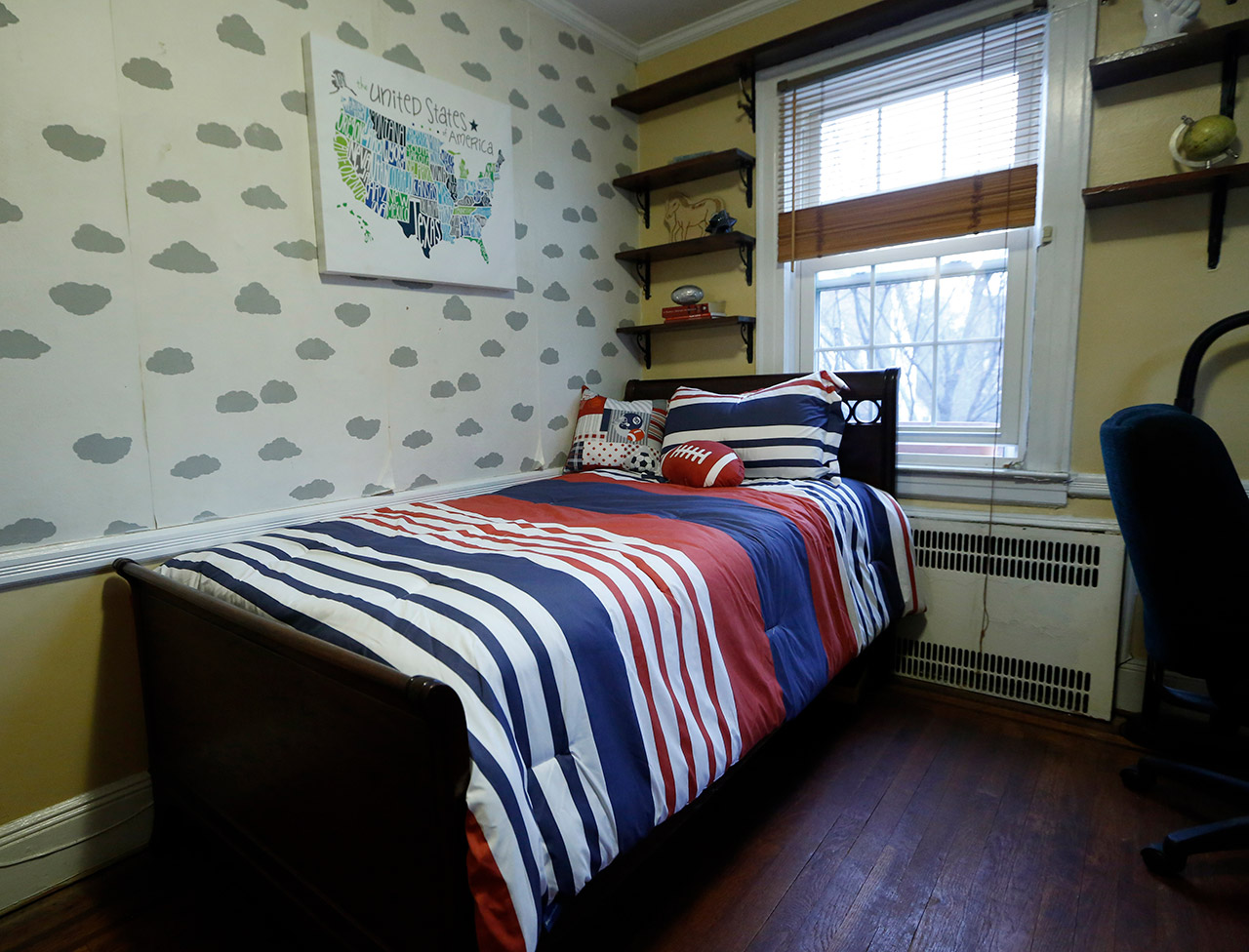 <div class='meta'><div class='origin-logo' data-origin='AP'></div><span class='caption-text' data-credit='AP Photo/Kathy Willens'>A bedroom in President-elect Donald Trump's childhood home is shown Tuesday, Jan. 17, 2017, in New York.</span></div>