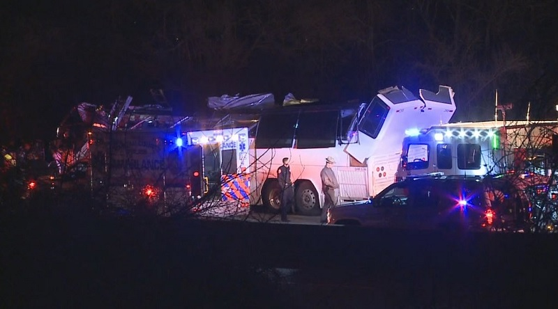 6 seriously injured after charter bus hit overpass in NY state