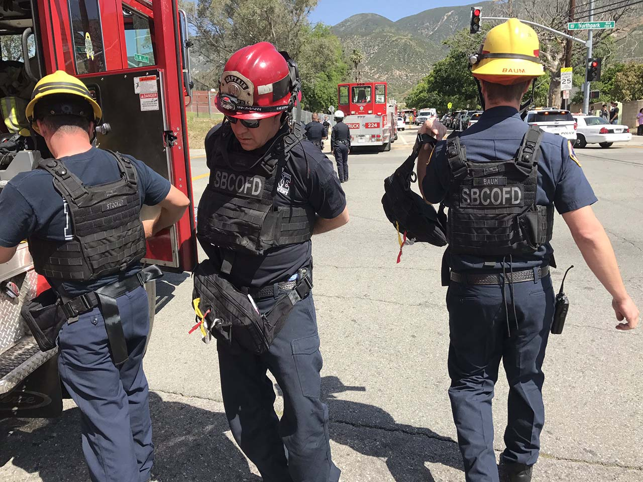 <div class='meta'><div class='origin-logo' data-origin='none'></div><span class='caption-text' data-credit='Photo/Rick Sforza with Southern California News Group'>Firefighters don body armor at North Park Elementary, where a shooting happened Monday, April 10, 2017.</span></div>