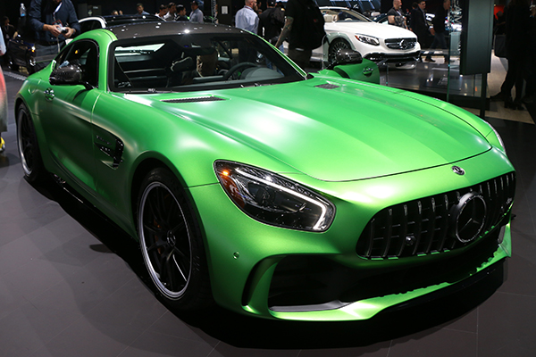 <div class='meta'><div class='origin-logo' data-origin='WABC'></div><span class='caption-text' data-credit=''>This bright green 2018 Mercedes Benz AMG GT-R coupe looks even meaner in person.</span></div>