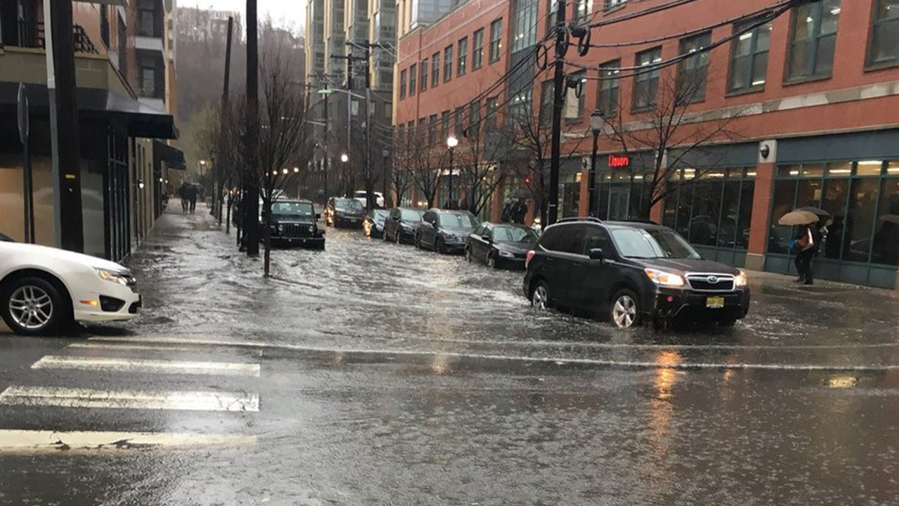<div class='meta'><div class='origin-logo' data-origin='WABC'></div><span class='caption-text' data-credit='Councilwoman Emily Jabbour'>Flooding at 9th and Madison in Hoboken, New Jersey during a heavy rainstorm on Monday, April 16, 2018.</span></div>