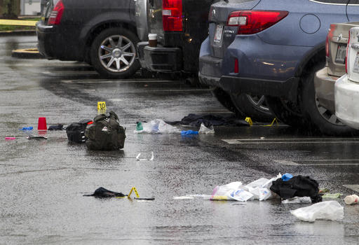 <div class='meta'><div class='origin-logo' data-origin='AP'></div><span class='caption-text' data-credit='AP Photo/Jose Luis Magana'>Evidence is marked by Montgomery County, Md. Police, after a shooting outside the Westfield Montgomery Mall in Bethesda, Md., Friday, May 6, 2016.</span></div>