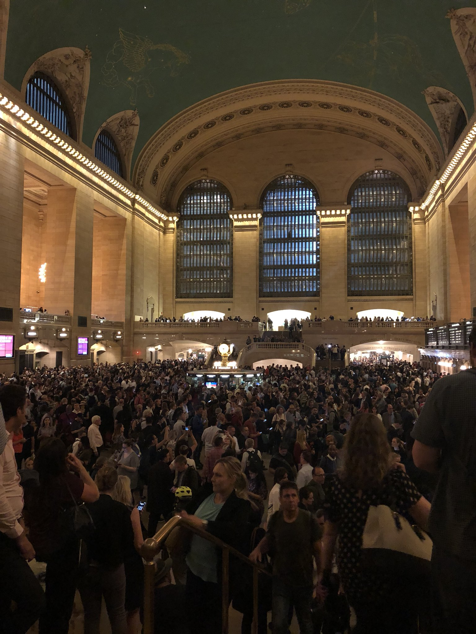 <div class='meta'><div class='origin-logo' data-origin='none'></div><span class='caption-text' data-credit=''>Crowded Grand Central after service was canceled due to storms from Barb Leung via Twitter</span></div>