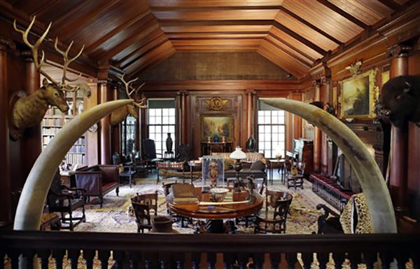 "<div class=""meta image-caption""><div class=""origin-logo origin-image ap""><span>AP</span></div><span class=""caption-text"">Elk and bison heads along with mementos President Theodore Roosevelt received adorn the North Room in his ""trophy room"" at Sagamore Hill, his ""Summer White House"" in Oyster Bay, NY (AP Photo/Kathy Willens)</span></div>"