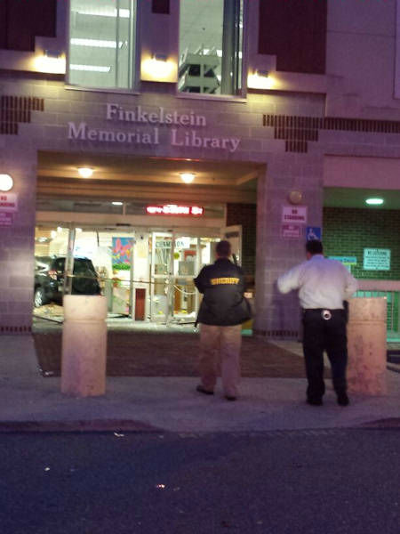 "<div class=""meta image-caption""><div class=""origin-logo origin-image ""><span></span></div><span class=""caption-text"">Several people were injured when a car drove into a library in Spring Valley, New York Tuesday evening.  (Photo courtesy @zishey) </span></div>"