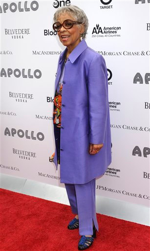 <div class='meta'><div class='origin-logo' data-origin='none'></div><span class='caption-text' data-credit='AP/Louis Lanzano'>Actress Ruby Dee arrives at the Apollo Theater for the Spring 2010 Benefit Concert and Awards Ceremony honoring Aretha Franklin and Michael Jackson, June 14, 2010, in New York.</span></div>