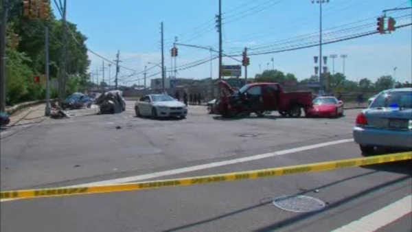 City Island Car Crash And Fire Police Woman