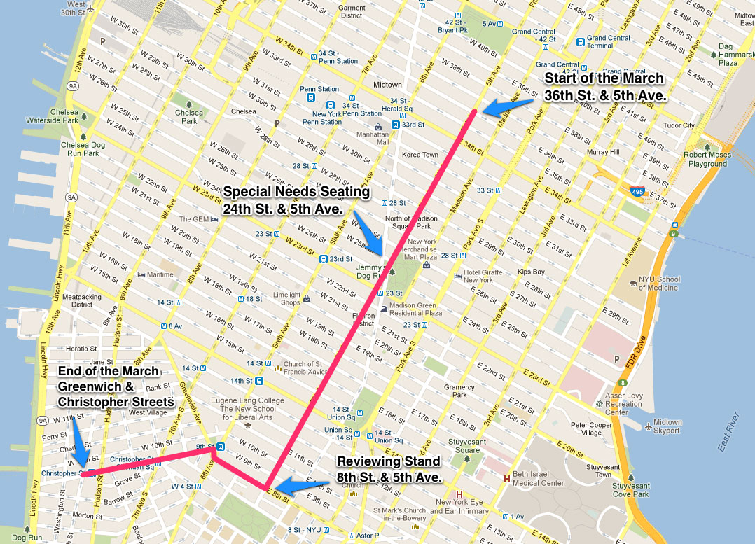 Route map details for New York Citys 2016 LGBT Pride March in