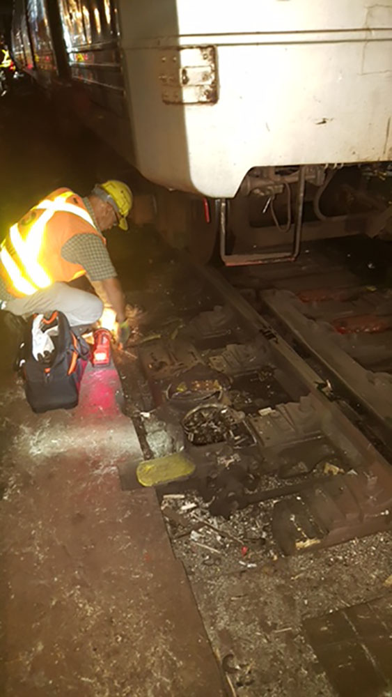 <div class='meta'><div class='origin-logo' data-origin='none'></div><span class='caption-text' data-credit=''>This photo obtained by Eyewitness News shows the damage following the derailment of an 'A' train in New York City's subway on Tuesday, June 27, 2017.</span></div>
