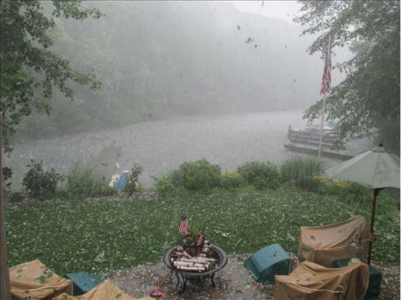 Hail falling on Lake Hopatcong, NJ. <span class=meta>(WABC Photo&#47; WABC)</span>