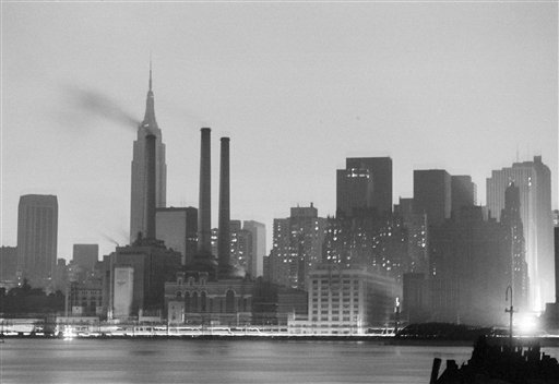 <div class='meta'><div class='origin-logo' data-origin='AP'></div><span class='caption-text' data-credit='AP Photo'>The Manhattan skyline is dark, July 13, 1977, after a power failure stuck all five boroughs of New York City. This view was made from Queens.</span></div>