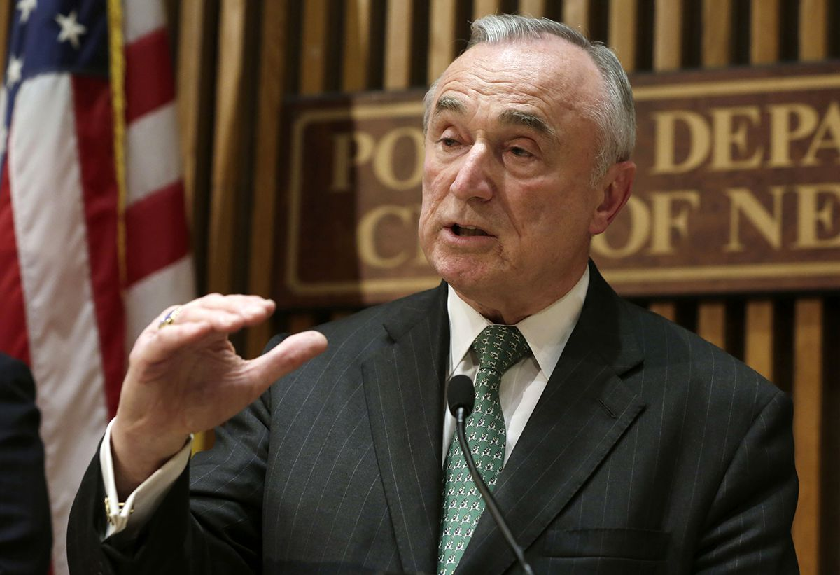 <div class='meta'><div class='origin-logo' data-origin='AP'></div><span class='caption-text' data-credit='AP Photo/Richard Drew'>In this Jan. 12, 2015, file photo, New York City Police Commissioner William Bratton speaks during a news conference at police headquarters in New York.</span></div>