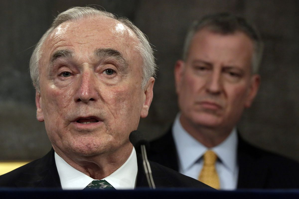 <div class='meta'><div class='origin-logo' data-origin='AP'></div><span class='caption-text' data-credit='AP Photo/Richard Drew'>Jan. 12, 2016 file photo, New York City Police Commissioner William Bratton, left, speaks during a news conference in New York's City Hall, as New York Mayor Bill de Blasio listens</span></div>
