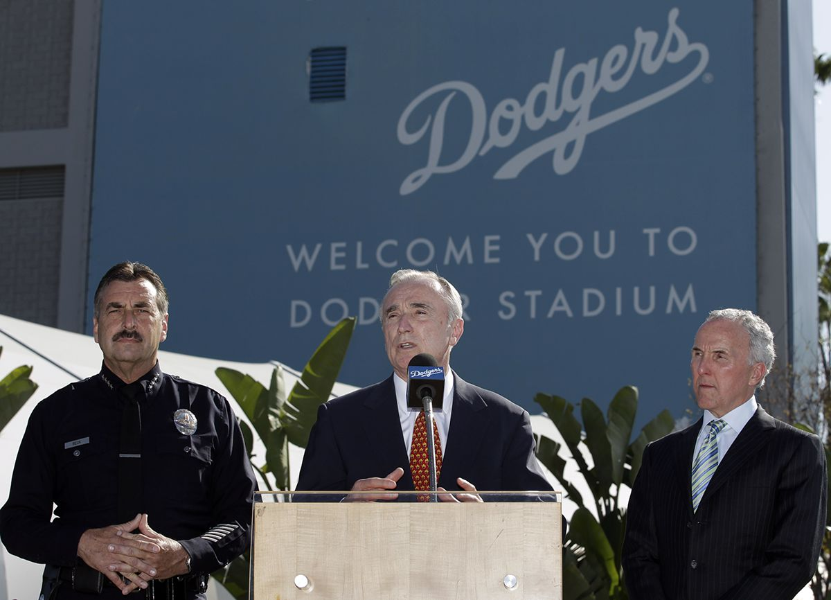 <div class='meta'><div class='origin-logo' data-origin='AP'></div><span class='caption-text' data-credit='AP Photo/Jae C. Hong'>Former Los Angeles Police Chief William Bratton, center, who is hired as a security consultant for the Los Angles Dodgers, speaks during a news conference April 14, 2011.</span></div>