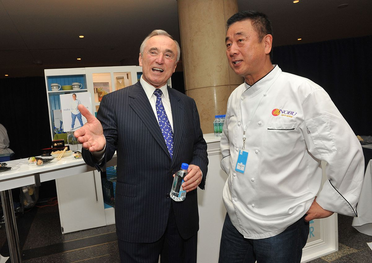 <div class='meta'><div class='origin-logo' data-origin='AP'></div><span class='caption-text' data-credit='Diane Bondareff/AP Images for FIJI Water'>Chef Nobu Matsuhisa, right, and former LAPD Police Chief William Bratton at the FIJI Water Kitchen during the &#34;Silver Spoons: 25 Years of Chefs & Celebrations&#34; event June 14, 2010.</span></div>