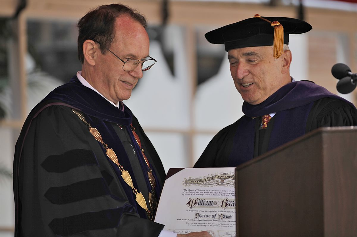 <div class='meta'><div class='origin-logo' data-origin='AP'></div><span class='caption-text' data-credit='AP Photo/Damian Dovarganes'>USC President, Steven Sample, left, presents an honorary degree in law to former LA Police Department Chief, William Bratton, at the University of Southern California May 14, 2010.</span></div>
