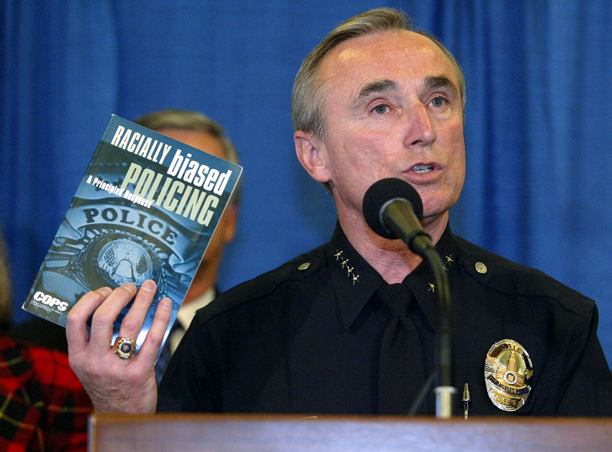 <div class='meta'><div class='origin-logo' data-origin='AP'></div><span class='caption-text' data-credit='AP Photo/Chris Carlson'>Los Angeles Police Chief William Bratton quotes from a book about racial profiling, during the announcement of the first posting of data collected by the LAPD Jan. 6, 2003.</span></div>