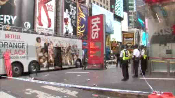 Two double decker sight seeing buses collided on the East side of the TKTS booth in Times Square.