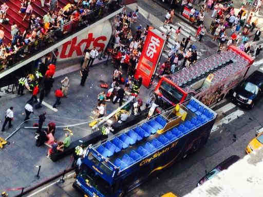 Two double decker sight seeing buses collided on the East side of the TKTS booth in Times Square.  (Photo courtesy: Donna Costarella) <span class=meta></span>