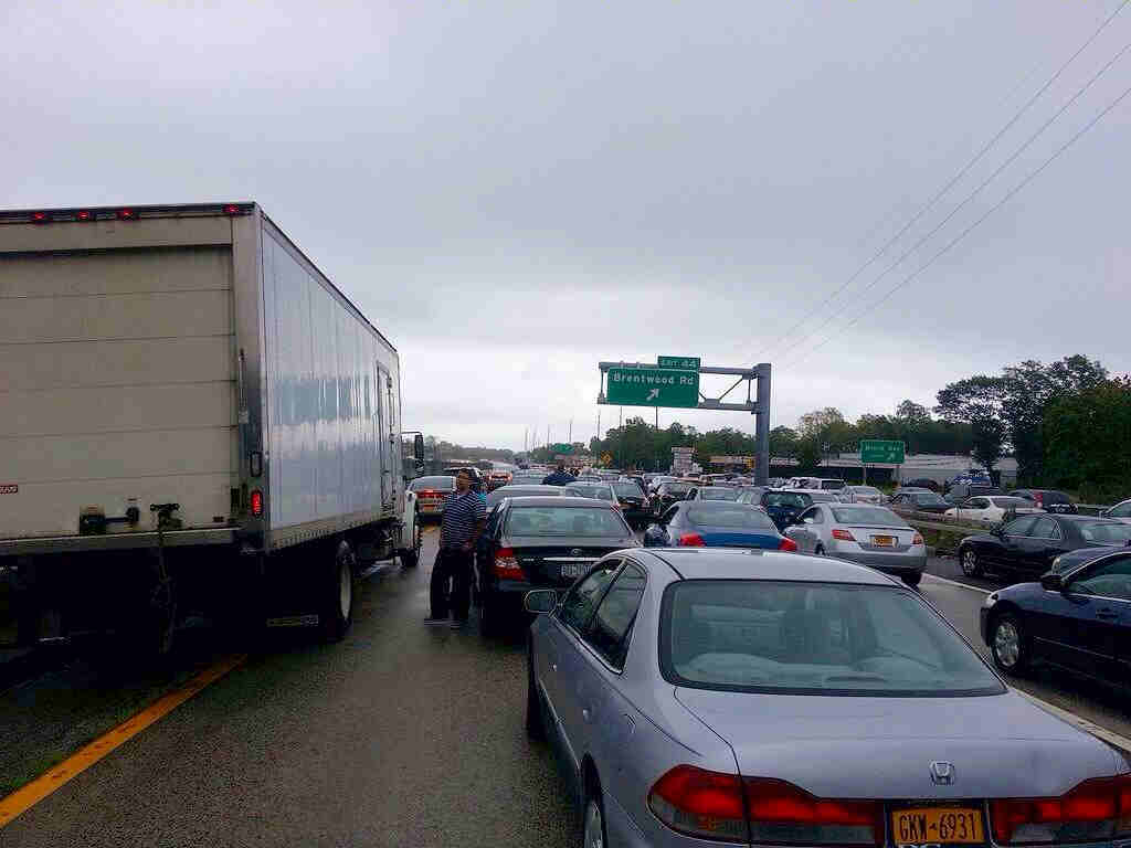 Traffic backup on Sunrise Highway at exit 44 because of flooding