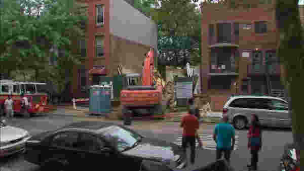 An excavator that was part of a demolition hit a building at 728 Monroe St., in Bedford-Stuyvesant. <span class=meta>Photo/WABC</span>