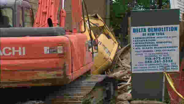 An excavator that was part of a demolition hit a building at 728 Monroe St., in Bedford-Stuyvesant. <span class=meta>WABC</span>