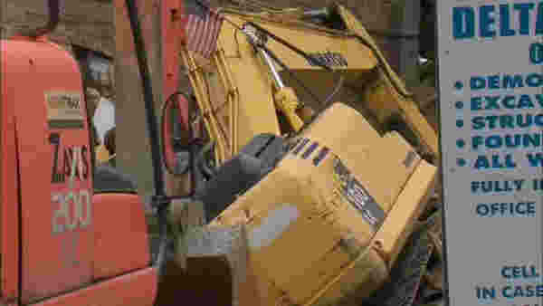 <div class='meta'><div class='origin-logo' data-origin='none'></div><span class='caption-text' data-credit='WABC'>An excavator that was part of a demolition hit a building at 728 Monroe St., in Bedford-Stuyvesant.</span></div>