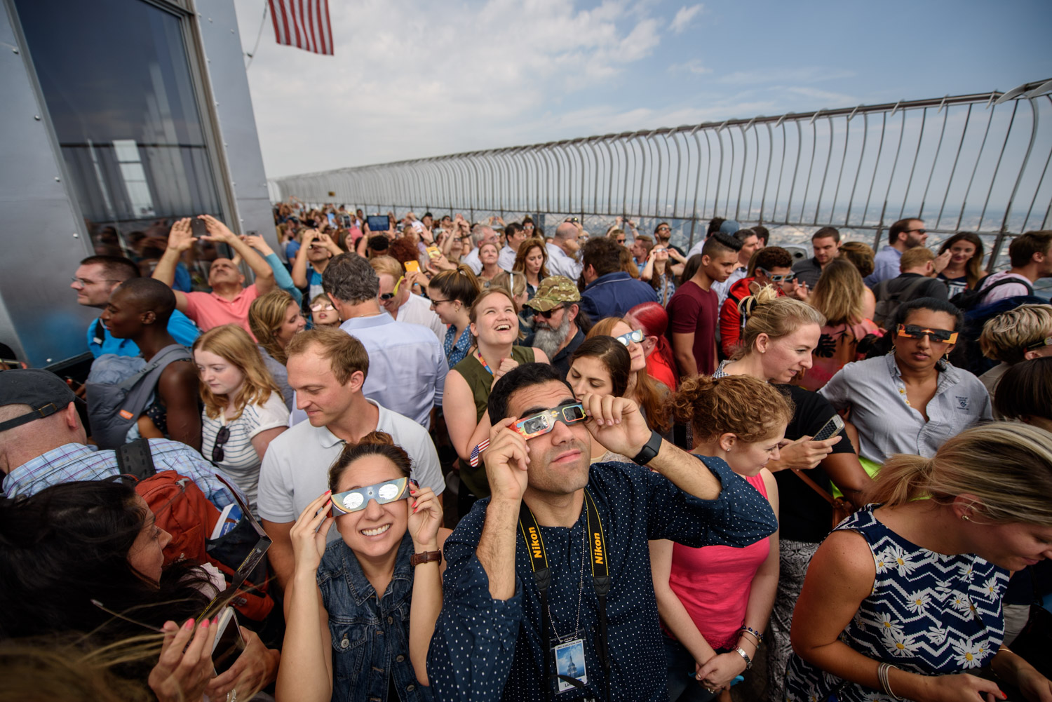 <div class='meta'><div class='origin-logo' data-origin='WABC'></div><span class='caption-text' data-credit='WABC Photo/Mike Waterhouse'>Dozens of people watched the 2017 solar eclipse from the 86th floor of the Empire State Building on Aug. 21, 2017.</span></div>