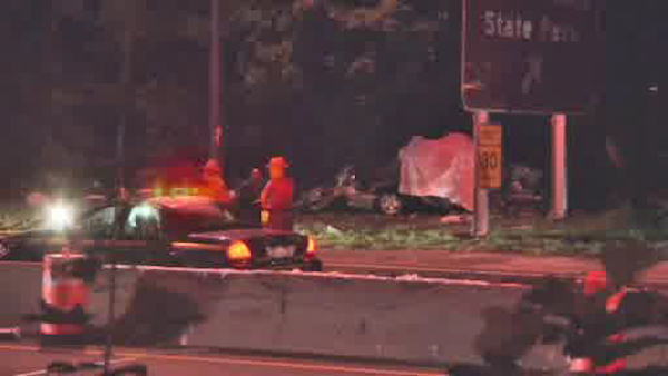 Five people were killed when a car struck a tree and burst into flames on the Southern State Parkway in North Babylon. <span class=meta></span>