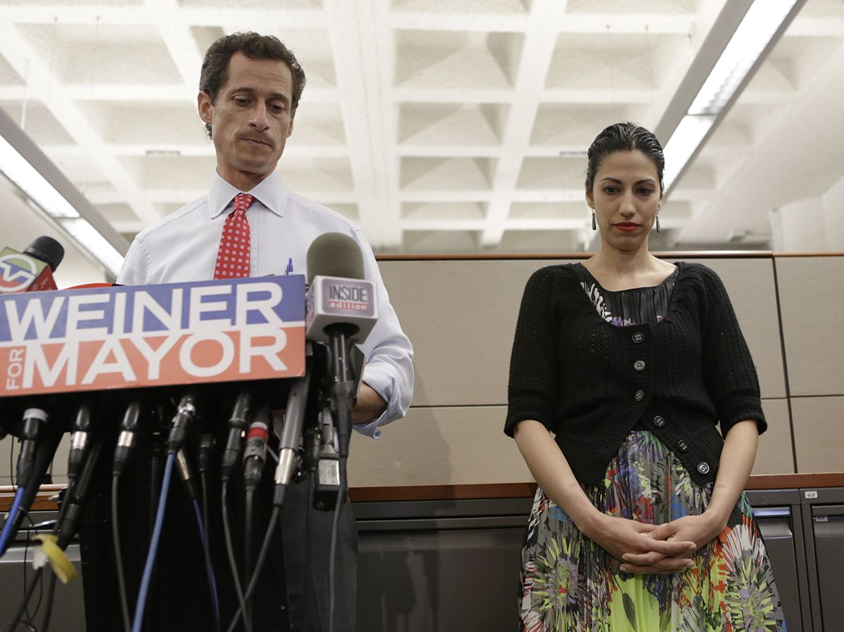 <div class='meta'><div class='origin-logo' data-origin='AP'></div><span class='caption-text' data-credit='AP Photo/Kathy Willens'>New York mayoral candidate Anthony Weiner speaks during a news conference alongside his wife Huma Abedin at the Gay Men's Health Crisis headquarters, Tuesday, July 23, 2013.</span></div>