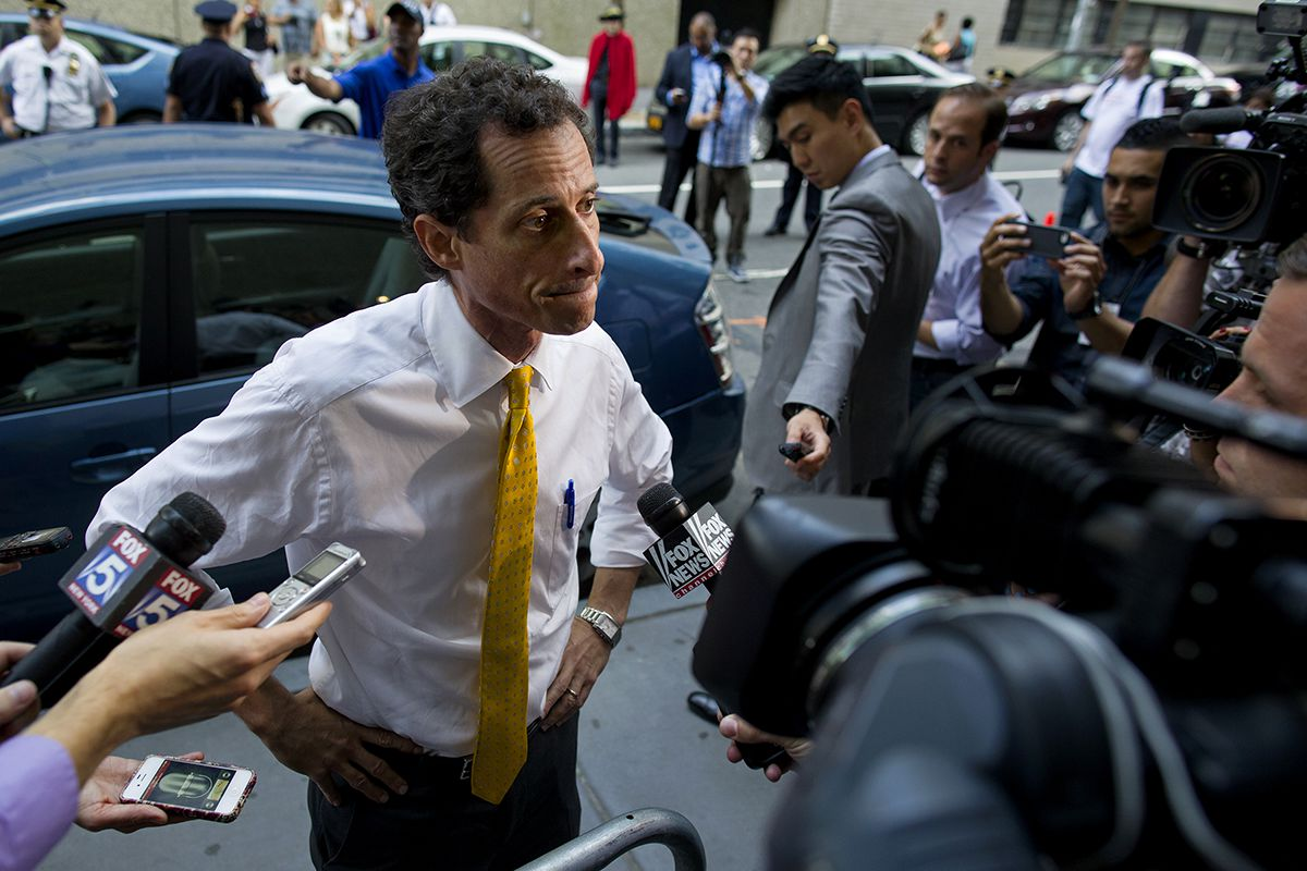 <div class='meta'><div class='origin-logo' data-origin='AP'></div><span class='caption-text' data-credit='AP Photo/Craig Ruttle'>New York City mayoral candidate Anthony Weiner speaks to members of the news media after testifying at a New York City Housing Authority Public Hearing Wednesday, July 24, 2013.</span></div>