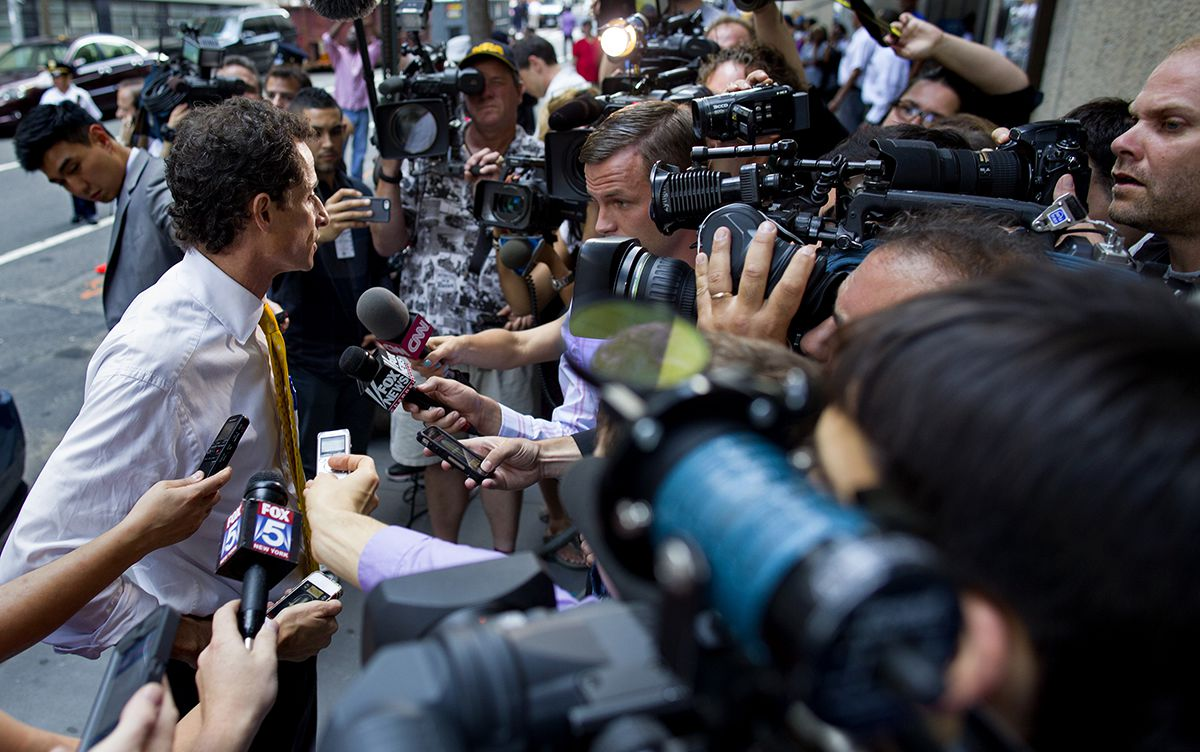 <div class='meta'><div class='origin-logo' data-origin='AP'></div><span class='caption-text' data-credit='AP Photo/Craig Ruttle'>New York City mayoral candidate Anthony Weiner speaks to members of the news media after speaking at a New York City Housing Authority Public Hearing Wednesday, July 24, 2013.</span></div>