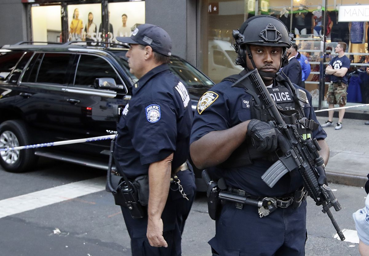 <div class='meta'><div class='origin-logo' data-origin='AP'></div><span class='caption-text' data-credit='AP Photo/Frank Franklin II'>Police officers block off west 32nd street Thursday, Sept. 15, 2016, in New York.</span></div>
