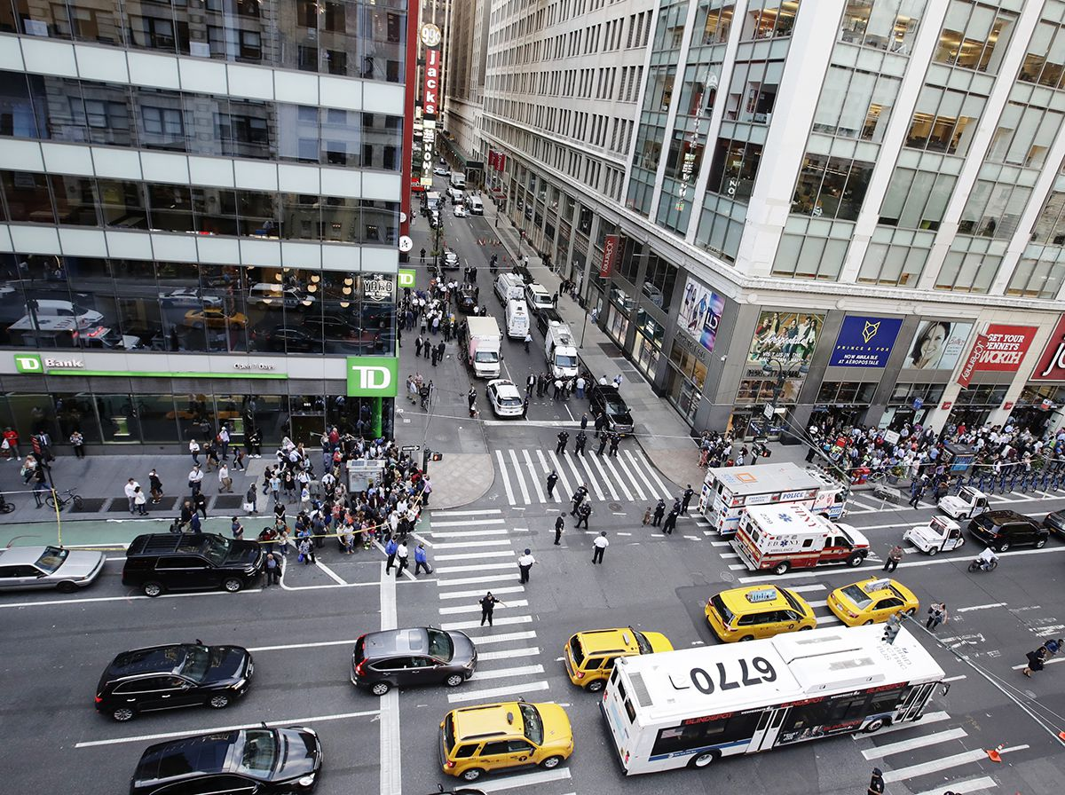 <div class='meta'><div class='origin-logo' data-origin='AP'></div><span class='caption-text' data-credit='AP Photo/Frank Franklin II'>Police block west 32nd street and Sixth Ave., Thursday, Sept. 15, 2016, in New York.</span></div>