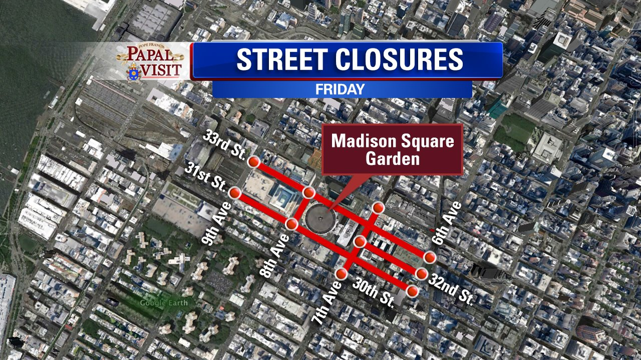 Check The List Of NYC Street Closures For The Visit Of Pope - Nyc map road