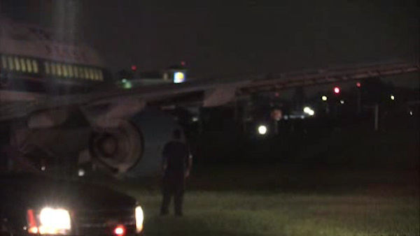 <div class='meta'><div class='origin-logo' data-origin='WABC'></div><span class='caption-text' data-credit=''>Republican Vice Presidential Candidate Mike Pence's plane skidded off the runway at LaGuardia Airport in New York City on Thursday night.</span></div>